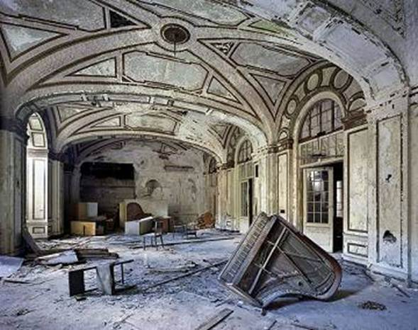 What was once a beautiful music room with a grand piano