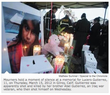 A memorial for Gutierrez's sister who he shot and killed
