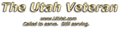 The Utah Veteran logo; gold letters Called to serve, still serving.