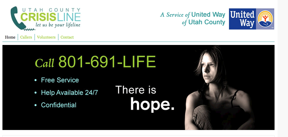 Utah County Crisis Line ~ Your listening line 801-691-LIFE